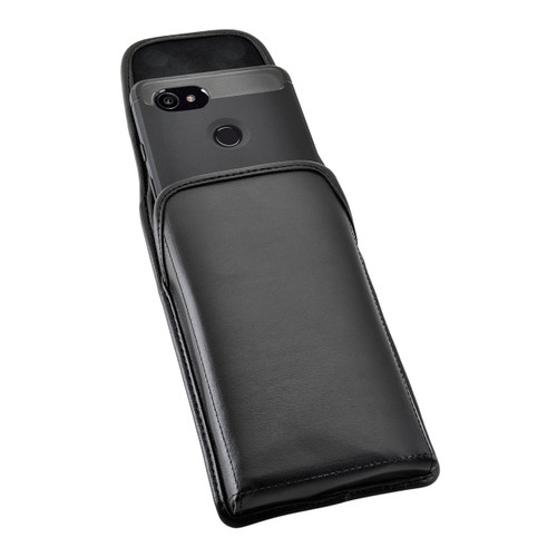 Google Pixel 2 XL Belt Case Fits Slim Case Vertical Black Leather Heavy Duty Rotating Belt Clip