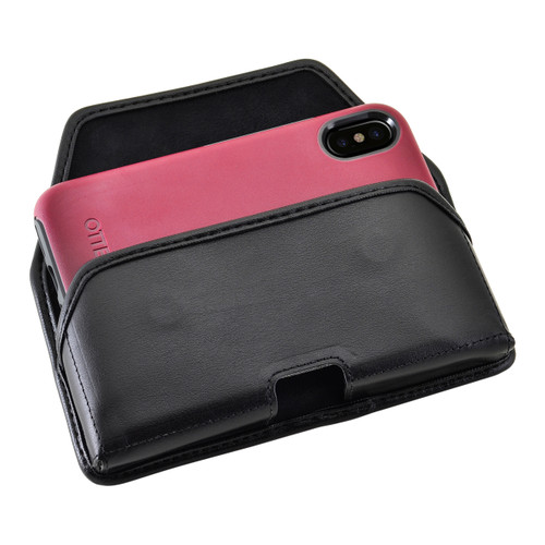 iPhone X Belt Case fits OTTERBOX COMMUTER SYMMETRY Case Black Leather Holster Rotating Belt Clip, Horizontal
