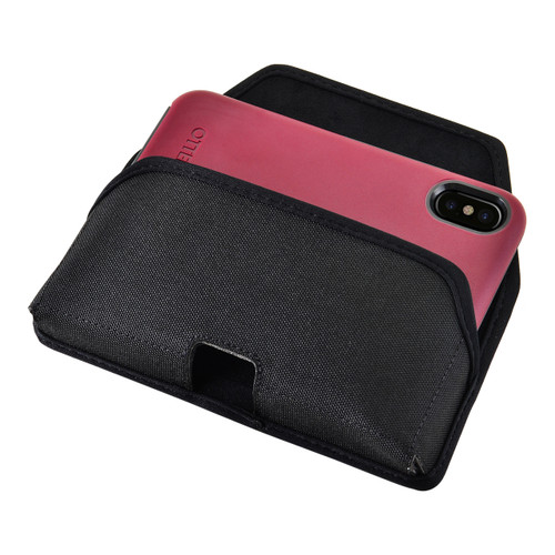 Turtleback Belt Clip Case made for iPhone 11 Pro, XS & X with Otterbox COMMUTER SYMMETRY case Black Holster Nylon Pouch with Heavy Duty Rotating Belt Clip Horizontal Made in USA