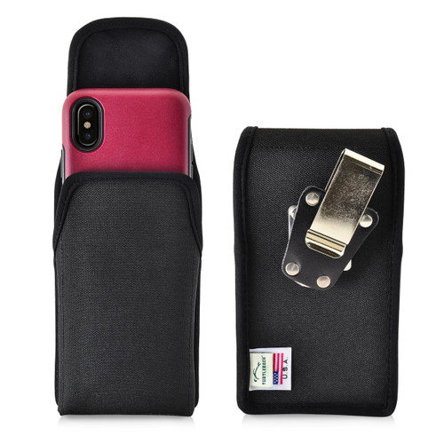 Turtleback Belt Clip Case made for iPhone 11 Pro, XS & X with Otterbox COMMUTER SYMMETRY case Black Vertical Holster Nylon Pouch with Heavy Duty Rotating Belt Clip Made in USA