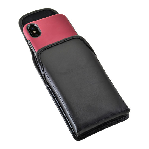 iPhone X Holster fits OTTERBOX COMMUTER SYMMETRY Case Vertical Belt Case Black Leather Belt Clip