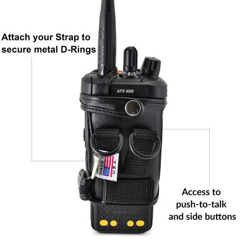 D RING Holder FITS Motorola APX 4000 Two Knob Radio STANDARD BATTERY