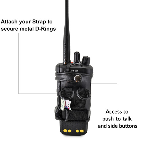 D-RING Holder FITS Motorola APX 4000 Two Knob Radio EXTENDED BATTERY