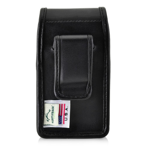 Greatcall Jitterbug Flip Black LEATHER Vertical Holster with Magnetic Closure Executive Belt Clip