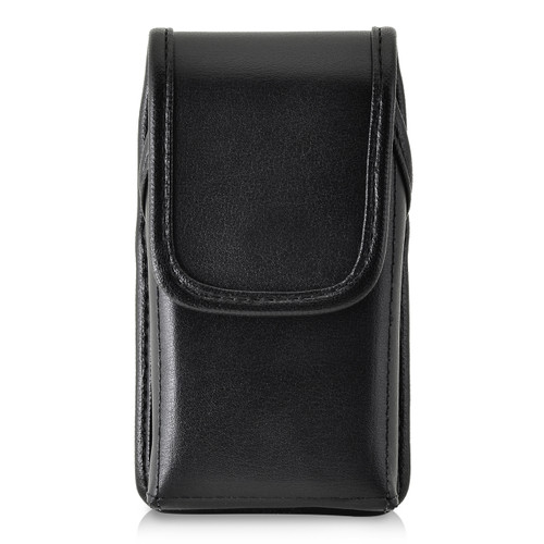ZTE Cymbal Z320 Black LEATHER Magnetic Closure Case Heavy Duty Rotating Belt Clip