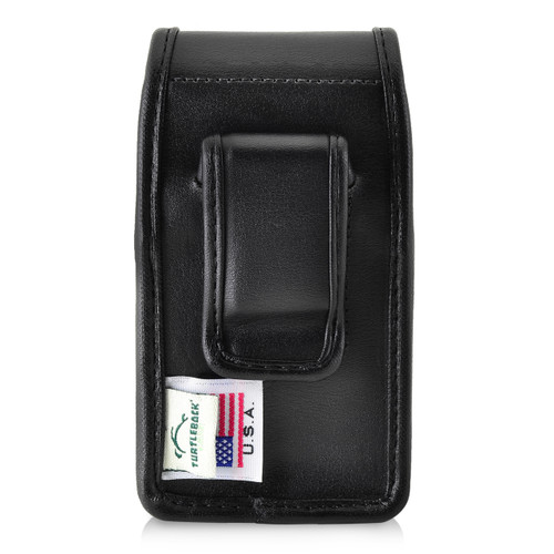 Consumer Cellular Alcatel GO FLIP, Go Flip V, ATT Flip2, T-Mobile 4044W, MYFLIP (A405DL) Black LEATHER Magnet Closure Executive Belt Clip