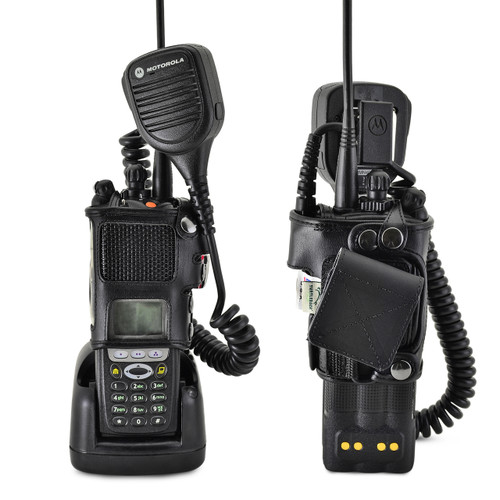 Motorola XTS3000 Models I II III Radio Belt Clip Holder fits in Charger for Two 2 Way Radios Black Leather
