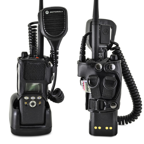 Motorola XTS2500 Models I II III Radio Holder with D Rings fits in Charger for Two 2 Way Radios Black Leather