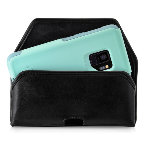 Galaxy S9 Holster for Otterbox COMMUTER Case Flush Leather Covered Metal Belt Clip Black Leather