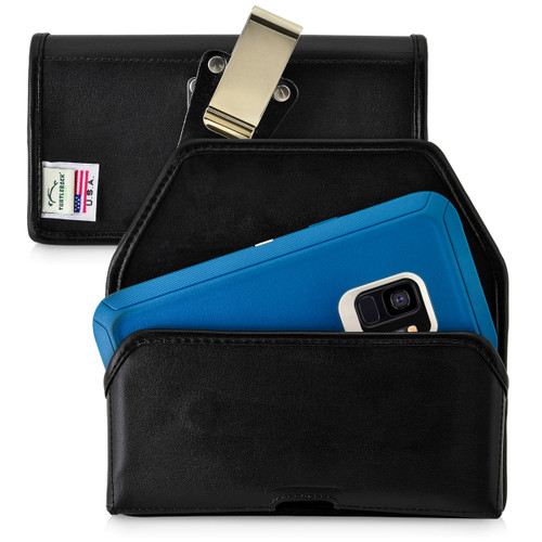 Galaxy S9 Belt Case made for Otterbox DEFENDER Case Rotating Belt Clip Black Leather Pouch