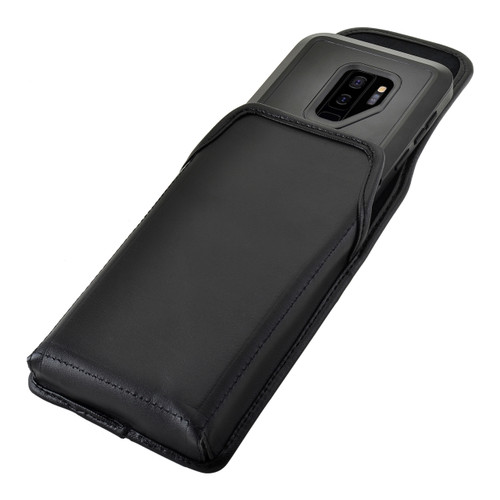 Galaxy S9 Plus Vertical Holster for Otterbox PURSUIT Case Flush Leather Covered Belt Clip Pouch