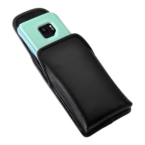 Galaxy S9 Vertical Holster for Otterbox COMMUTER Case Flush Leather Covered Metal Belt Clip