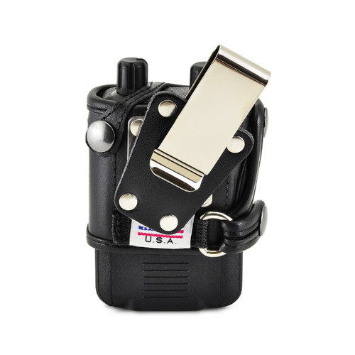 Motorola Minitor VI (6) Voice Pager Fire Radio Phone Black Leather Case Metal Ratcheting Removable Belt Clip