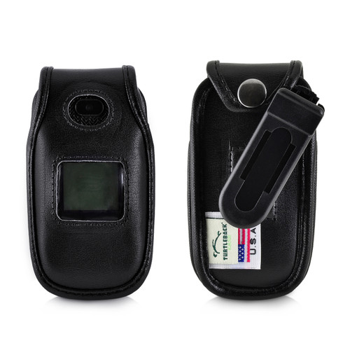 ATT ZTE Z223 Flip Phone Black LEATHER Belt Fitted Case with Ratcheting, Removable Belt Clip