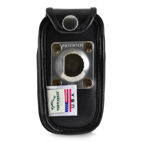ATT ZTE Z223 Flip Phone Black LEATHER Fitted Phone Belt Case Metal Ratcheting Removable Belt Clip