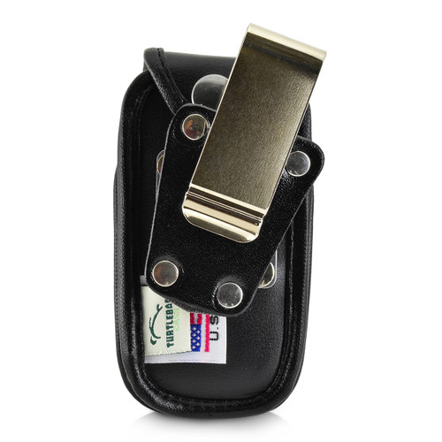 ATT ZTE Z223 Flip Phone Black LEATHER Fitted Phone Belt Case Metal Ratcheting Removable Belt Clip