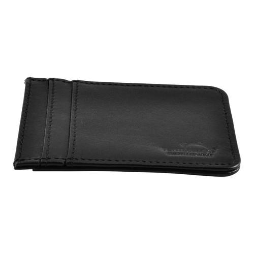 Front Pocket Wallet ID Window Minimalist Slim Card Holder with RFID Blocking Thin Genuine BLACK Leather