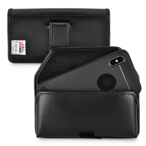 iPhone 11 Pro Max (2019) & XS MAX (2018) Belt Holster Case Black Leather Pouch Executive Belt Clip Horizontal