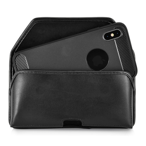 iPhone 11 Pro Max (2019) & XS MAX (2018) Belt Case Horizontal Holster Black Leather Pouch Heavy Duty Rotating Clip