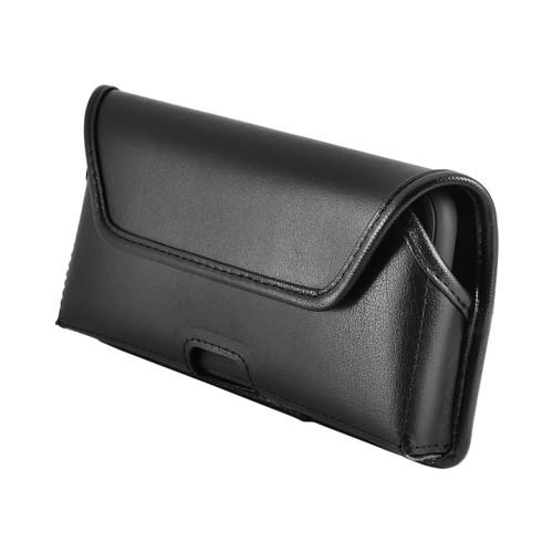 iPhone XR (2018) Belt Holster Case Horizontal Black Leather Pouch Executive Belt Clip