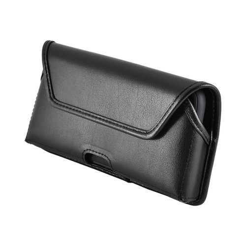 iPhone XR (2018) Belt Case Horizontal Holster Black Leather Pouch Heavy Duty Rotating Clip