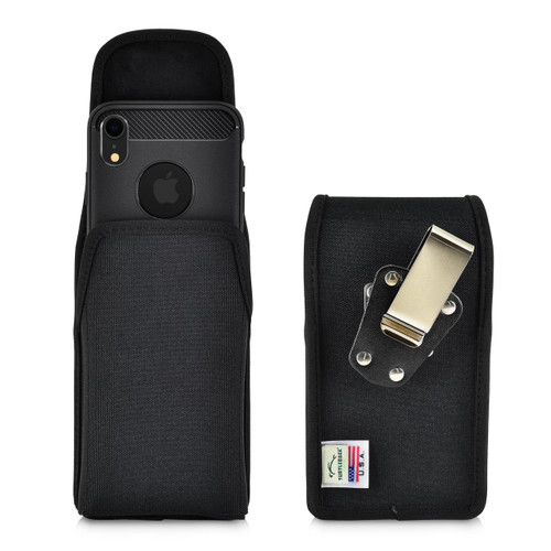 iPhone XR (2018) Belt Clip Vertical Holster Case Black Nylon Pouch Heavy Duty Rotating Clip