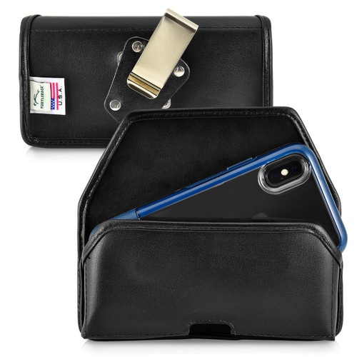 iPhone XS (2018) Fits with OTTERBOX STATEMENT Black Leather Holster Pouch Rotating Belt Clip Horizontal