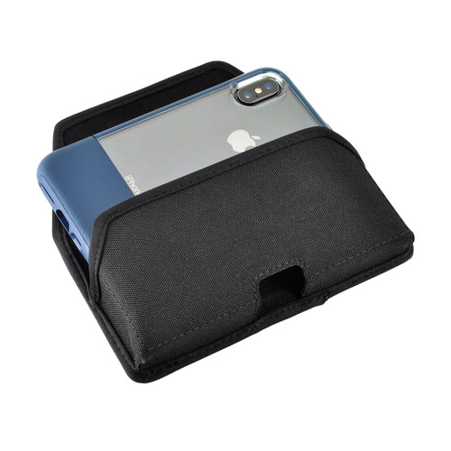 iPhone XS (2018) Fits with OTTERBOX STATEMENT Black Nylon Holster Pouch Rotating Belt Clip Horizontal