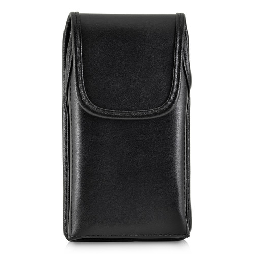 iPhone XS (2018) Fits with OTTERBOX STATEMENT Vertical Holster Black Leather Pouch Rotating Belt Clip