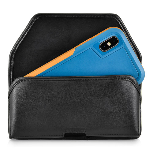iPhone XS (2018) Fits with OTTERBOX PURSUIT Black Leather Belt Case Pouch Executive Belt Clip Horizontal