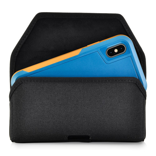 iPhone XS (2018) Fits with OTTERBOX PURSUIT Black Nylon Holster Pouch Rotating Belt Clip Horizontal