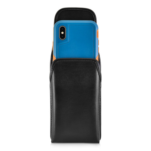 iPhone XS (2018) Fits with OTTERBOX PURSUIT Vertical Belt Case Black Leather Pouch Executive Belt Clip