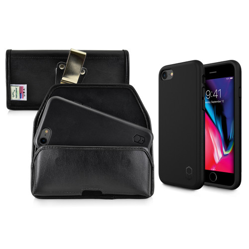 iPhone 8 Phone Case and Holster with Metal Belt Clip Set, Black