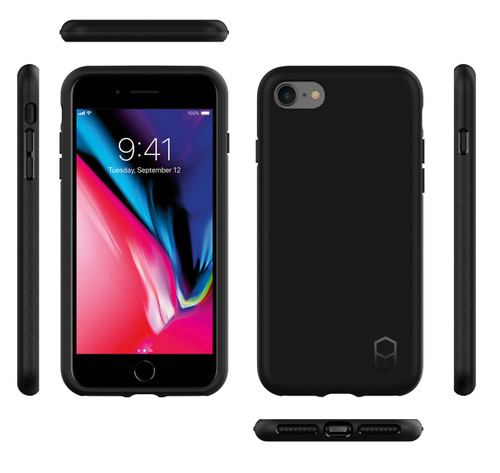 iPhone 8 Phone Case and Holster Nylon with Metal Belt Clip Set, Black