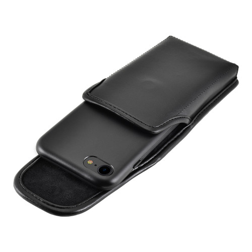 iPhone 8 Phone Case and Vertical Holster with Metal Belt Clip Set, Black