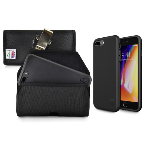 iPhone 8 Plus Phone Case and Holster Nylon with Metal Belt Clip Set, Black