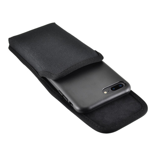 iPhone 8 Plus Phone Case and Vertical Holster Nylon with Metal Belt Clip Set, Black