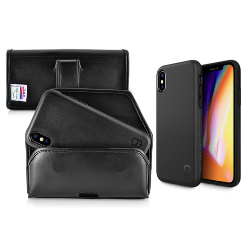iPhone X Phone Case and Holster with Black Belt Clip Set, Black