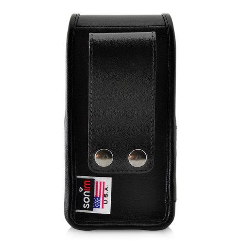 Sonim XP5s C1D2 IS Holster Pouch, Vertical Black Leather with Belt Loop & Magnetic Closure