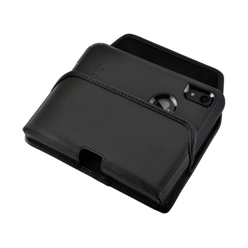 iPhone XR (2018) Fits with OTTERBOX DEFENDER Black Leather Belt Case Pouch Executive Belt Clip Horizontal
