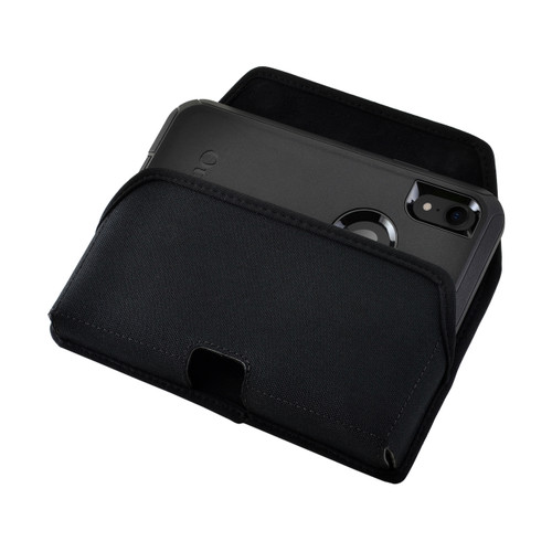 iPhone XR (2018) Fits with OTTERBOX DEFENDER Black Nylon Holster Pouch Rotating Belt Clip Horizontal