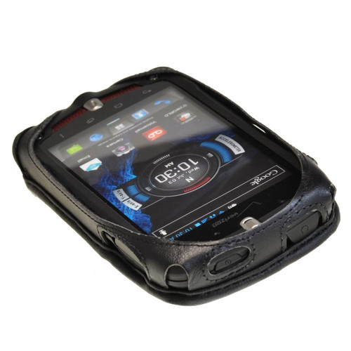 Casio GZ1 Commando 4G LTE C811 Black Leather Case with Rotating Metal Clip