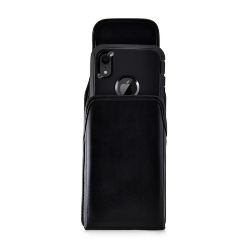 iPhone XR (2018) Fits with OTTERBOX DEFENDER Vertical Belt Case Black Leather Pouch Executive Belt Clip