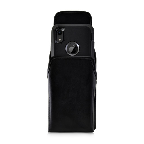 iPhone XR (2018) Fits with OTTERBOX DEFENDER Vertical Holster Black Leather Pouch Rotating Belt Clip