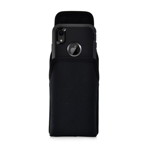 iPhone XR (2018) Fits with OTTERBOX DEFENDER Vertical Holster Black Nylon Pouch Rotating Belt Clip