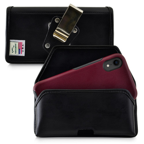 iPhone XR (2018) Fits with OTTERBOX SYMMETRY Black Leather Holster Pouch Rotating Belt Clip Horizontal