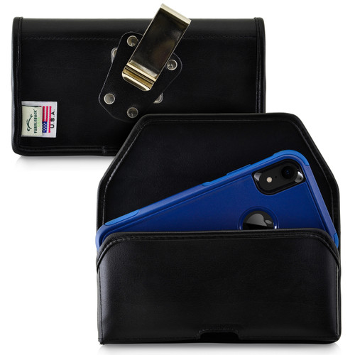 Turtleback Belt Case Designed for iPhone 11 (2019) & XR (2018) Fits with OTTERBOX COMMUTER, Black Leather Holster Pouch with Heavy Duty Rotating Belt Clip, Horizontal Made in USA