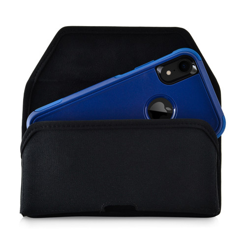 iPhone XR (2018) Fits with OTTERBOX COMMUTER Black Nylon Holster Pouch Rotating Belt Clip Horizontal