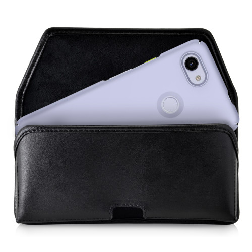 Google Pixel 3A (2019) Belt Holster Black Leather Pouch with Heavy Duty Rotating Belt Clip, Horizontal