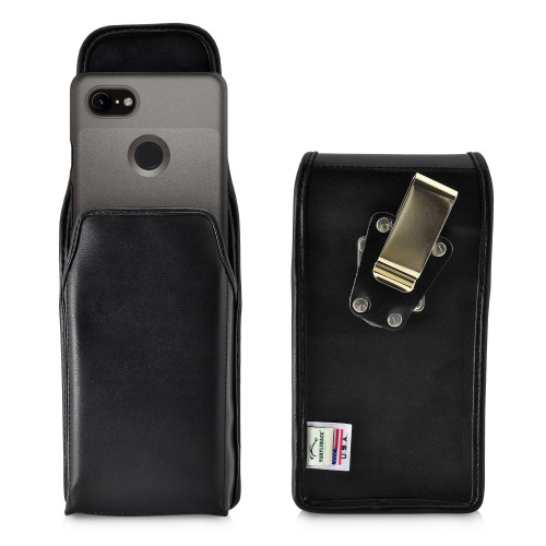 Google Pixel 3 (2019) Vertical Holster Black Leather Pouch with Heavy Duty Rotating Belt Clip